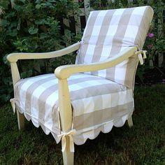Fixed up this chair for my girl that just got married. Found a ho-hum chair at a thrift store, and used IKEA fabric for a fun little scalloped slip cover.  I love how it turned out...and she did, too!