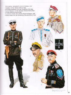 White Russians; Southern Russia, 1. 1st Gen Markov's Officers' Regt, Captain. 2. 2nd Gen Drozdovsky Rifle Regt, Poruchik(Lieutenant). 3. 1st Gen Alexeyev Partisan Infantry Regt, Junior Sergeant. 4. Samursky Infantry Regt. Private. 5. Gen. Kornilov Shock Infantry Division, Lieutenant Colonel. 1920 & 6. Sleeve Badge 2nd Gen Drozdovsky Mounted Officers' Regt.