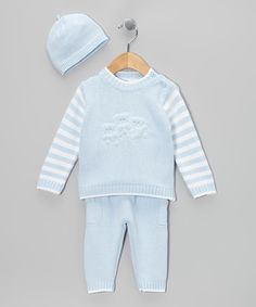Both smart and stylish, this combo is made from thick cotton and has everything necessary to keep cuties dressed head to toe in warmth. The sweater and beanie feature a ribbed design and the elastic waistband on the ribbed pants helps to guarantee oodles of plush comfort.