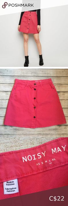 """Noisy May Pink Denim Skater Skirt Urban Outfitters Noisy May multi button denim skirt Size large Great condition   Waist (taken flat) 15.5"""" Length 19"""" Urban Outfitters Skirts Mini"""