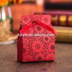 luxury high quality red paper laser cut free ribbon Candy Box 7.5*4*4cm wedding baby shower gift packing boxes table decorations