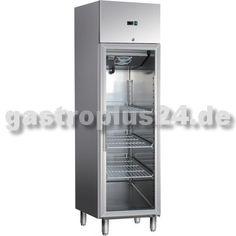 Umluft-Gewerbekühlschrank mit Glastür GN 1/1 und Längseinschub. Technische Daten: Außenmaße (BxTxH): 484 x 730 x 2010 mm Bruttoinhalt: 350 Liter...