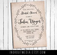 Rustic floral Bridal Shower Invitation - 5x7, personalized, wedding shower, couples shower, country wedding