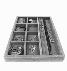 Excited to share this item from my shop: Jewelry Drawer Insert Organizer, Wood and Velvet Tray 10 Compartments for rings bracelets earrings , Handmade In USA Silver/Gray