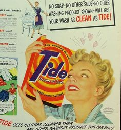 Two great ads for Tide detergent from the 1950s Happy Housewife era. These would look so great framed in a laundry room! One ad shows the Happy