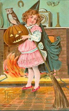 Vintage Embossed Sanders Halloween Postcard Girl Witch Holds Broom JOL With Owl Victorian Halloween, Vintage Halloween Images, Halloween Pictures, Spooky Halloween, Holidays Halloween, Halloween Crafts, Happy Halloween, Halloween Artwork, Halloween Ideas