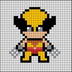 Patrón de Hama Beads Midi de Lobezno [Wolverine], uno de los protagonistas de Marvel más famosos. 🐺  Si quieres saber como se hace, ya sea en Hama Beads o Pixel Hobby, haz click en el enlace. Hama Beads Design, Hama Beads Patterns, Beading Patterns, Pixel Pattern, Pattern Art, Beaded Cross Stitch, Cross Stitch Patterns, Pixel Art Super Heros, Modele Pixel Art