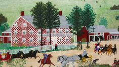"""Grandma Moses The Old Checkered House, 1944 Anna Mary Robertson """"Grandma"""" Moses Oil on pressed board Copyright © Grandma Moses Properties Co., New York Anna Mary Robertson """"Grandma"""" Moses started painting in her seventies and became one of America's Grandma Moses, Mary Robinson, Shelburne Museum, Naive Art, Famous Artists, American Artists, Art Museum, Folk Art, Old Things"""
