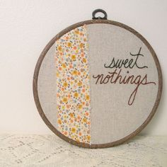 sweet nothings, embroidered wall art by monkey and squirrel - $34.00