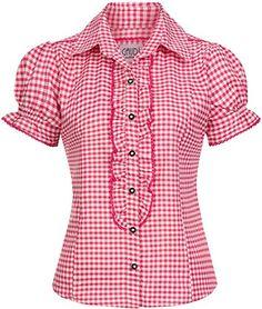 Amazing offer on Gaudi-leathers Ronda Bavarian Oktoberfest Short Sleeve Checkered Diffrent Colors online - Blouse Styles, Blouse Designs, Cute Shirts, Casual Shirts, Como Fazer Short, Evening Blouses, Gaudi, Shirt Blouses, Blouses For Women
