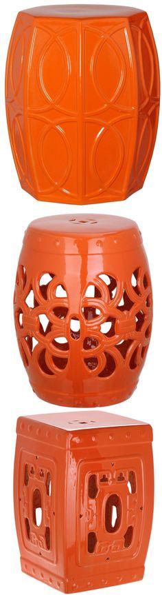 Orange Garden Stool Orange Ceramic Stools Orange Porcelain