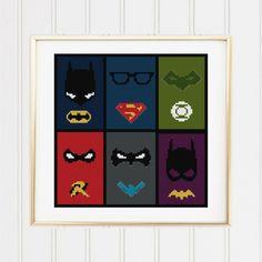 BOGO FREE! dc comic superheroes stitch pattern /Batman cross stitch/superman  cross stitch / superhero pattern/batman pattern #04-004 by XStitchMania on Etsy