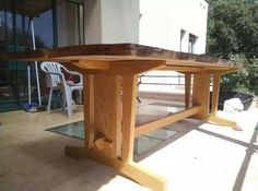 Oak/eucaliptus trestle table