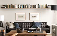 Mantel Modern Wall Shelves - Winslow Cocktail Table and Wells Sofa in Leather - Modern Living Room Furniture - Room & Board Shelves Over Couch, Living Room Shelves, Home Living Room, Living Room Furniture, Living Room Decor, Decor Room, Shelving Behind Couch, Wall Shelves For Books, Long Wall Shelves