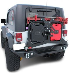 "Specifically designed for the expeditioner, this Jeep Wrangler tire carrier features a compact design, jam packed with options to help assist in your next journey! The JK rear tire carrier is constructed from a combination of 3/16"" plate and 1 3/4"" Round tube that have both been CNC cut and CNC formed in house, here in the US of A. Quality construction swinging seamlessly on their best in the market Bomb-Proof spindle."