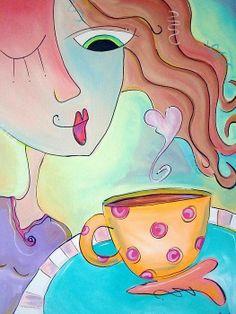 Amorosamente soplo el humo de mi café. Sé que con él también se marchan tus pesares, tus sueños rotos, tu ayer. Salud!  ____________ Ilustr. Pinterest (VIVI CERVERA FACEBOOK)