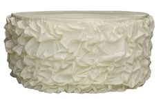 14ft Gathered Lamour Satin Tableskirt - Ivory ● As Low as $54.99 ● Available from www.cvlinens.com