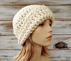 Cream Cloche Hat  Cream Crochet Hat Cream Womens Hat  by pixiebell