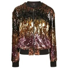 Topshop Sequin Ombre Jacket (370 PLN) ❤ liked on Polyvore featuring outerwear, jackets, shiny jacket, zipper jacket, zip jacket, topshop jackets and zip up jackets