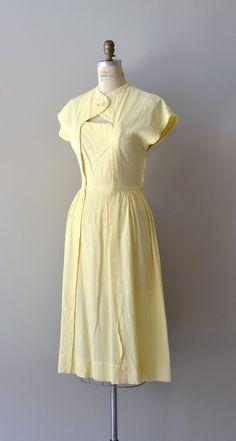 vintage 1940s dress / cotton 40s dress / Cheerful por DearGolden