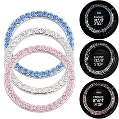 AndyGo Crystal Rhinestone Car Bling Sticker Ring Emblem Auto Start Engine Ignition Key  Button Bling Car Dcor ** Click on the image for additional details.Note:It is affiliate link to Amazon.