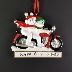 Biker Couple Polar Bear Personalized Christmas Ornament Handmade Customized Holiday Gift Custom Handwritten Names Personalized Christmas Ornaments, Handmade Ornaments, Christmas Tree Ornaments, Christmas Crafts, Biker Couple, Etsy App, Polar Bear, Holiday Gifts, Hand Painted