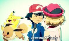 Ash x Serena and Pikachu x Eevee♥♥♥♥
