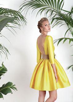 Vestidos de fiesta, vestidos para boda, Vestido amarillo espalda descubierta