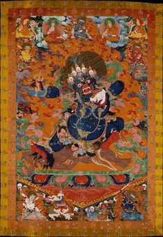 閻魔(ヤマ)を描いたチベットの仏画(17~18世紀ごろ)