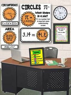 Pi Day: Here are three printable anchor charts for your math classroom. The first anchor chart shows a tricky way to remember the value of Pi. The other two charts help students determine the area and circumference of a circle. Math Measurement, Math Multiplication, Maths, Math Games, Math Charts, Math Anchor Charts, Math Classroom Decorations, Classroom Ideas, Classroom Helpers