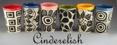 Cinderelish  - ceramic pottery sgraffito designs in progress.
