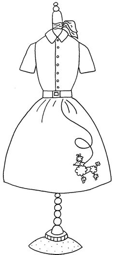 """Free Redwork Pattern for April """"The Classic Poodle Skirt"""" Pattern Vintage Embroidery, Embroidery Applique, Cross Stitch Embroidery, Embroidery Designs, Poodle Skirt Pattern, Applique Patterns, Digi Stamps, Coloring Book Pages, Copics"""