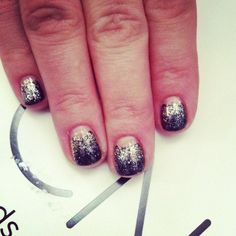 glitter shellac half-moon manicure...soso awesome! i don't do shellac nails, but i am totally going to try this design soon!