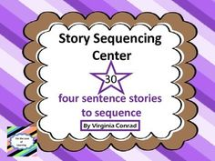 Need some extra activities for sequencing?  Here's a great product for you!  There are 30 stories with four sentences each.  Just copy, laminate, and cut apart each story.  Store individual stories in envelopes.Use these story sets 2 ways:1.  Whole Group Activity:  Pass out the cards to one story and have students come to the front.
