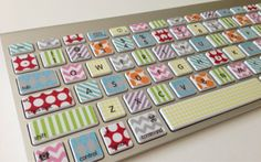 Washi Tape-Inspired iMac, MacBook Pro, and MacBook Air Keyboard Protective Skin Macbook Pro Keyboard, Keyboard Stickers, Macbook Air, Mac Stickers, Keyboard Cover, Diy Washi Tape Keyboard, Diy Washi Tape Decor, Macbook Accessories, Masking Tape
