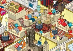 rod hunt illustrates 10 ikea families + their aparments for russian campaign