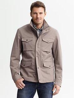 Khaki cotton four-pocket jacket   Banana Republic
