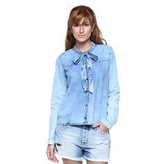 Camisa Gola Laço Jeans - Damyller