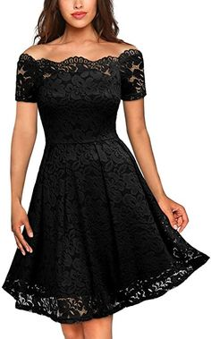 MISSMAY Womens Vintage Floral Lace Short Sleeve Boat Neck Cocktail Party Swing Dress - Party Dresses - Ideas of Party Dresses - The post MISSMAY Womens Vintage Floral Lace Short Sleeve Boat Neck Cocktail Party Swing Dress appeared first on Dress Honey. Lace Party Dresses, Black Wedding Dresses, Bride Dresses, Dress Party, Women's Dresses, Lace Wedding, Bridesmaid Dresses, Robe Swing, Swing Dress