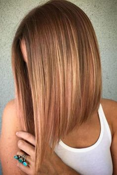 Angled Lob Haircuts That Prove Blunt Isn't Always Better: Peachy Lob - Longbob For the Love of Lob: 20 Long-Bob Hairstyles to Inspire You - Hair Cutting - Modern Salon 27 Stylish A-Line Bob Haircuts and Hairstyles for GREAT COLOR! Inverted Bob Hairstyles, Long Bob Haircuts, Straight Hairstyles, Lob Haircut Thin, A Line Haircut, Pixie Haircuts, Angeled Bob Haircut, Haircuts For Girls, Med Haircuts