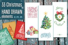 Hand drawn Christmas vector set by Dinkoobraz on Creative Market