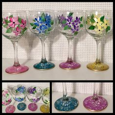 glass crafts painted diy Painted Wine Glass // Whimsical Painted Wine Glass // Daisy Wine Glass hand painted home decor Diy Wine Glasses, Decorated Wine Glasses, Hand Painted Wine Glasses, Decorated Bottles, Glass Painting Designs, Stained Glass Designs, Wine Glass Crafts, Wine Glass Set, Bottle Painting