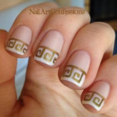 Tatevik of Instagram's @NailArtConfessions used Essie Tie the Knot and Baby's Breath, along with acrylic gold paint for this freehand Greek-inspired French Manicure, Fun French Manicure, Cool Nail Designs, Nail Art, Greek Inspired, Nail Trends, Nail It! Magazine