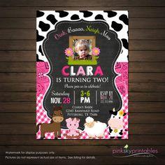 Girls Farm Barnyard Birthday Invitation by PinkSkyPrintables