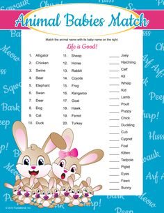 Baby Animal Match - Baby Shower Games AtoZ