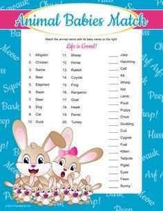 Baby Animal Match - Baby Shower Games AtoZ