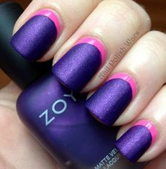 Matte nail polishes are the best in any kind of look you want to rock. And it's especially good to look at when partnered with a suitable color in a crescent moon design. Here, it's a violet matte nail polish and pink crescent moon.