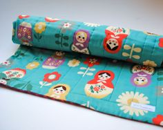 As Seen in Pregnancy & Newborn Magazine - Matryoshkas Baby Quilt - Turquoise Blue Dolls Bedding with Organic Cotton on Etsy, $120.00