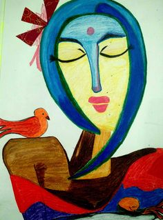 portraying the `BEAUTY , CALMNESS & loneliness of a woman through an abstract.