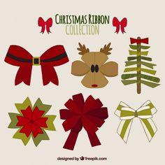 Set of creative christmas ribbons Free Vector